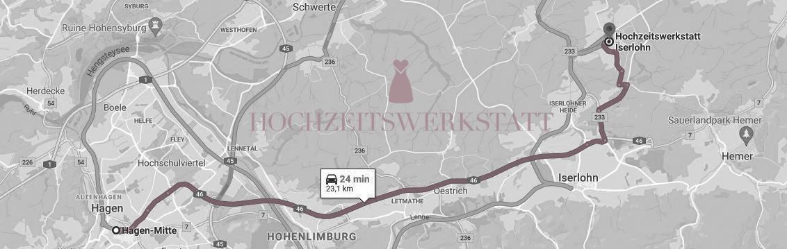 Anfahrt/Map Hagen - Hochzeitswerkstatt Iserlohn