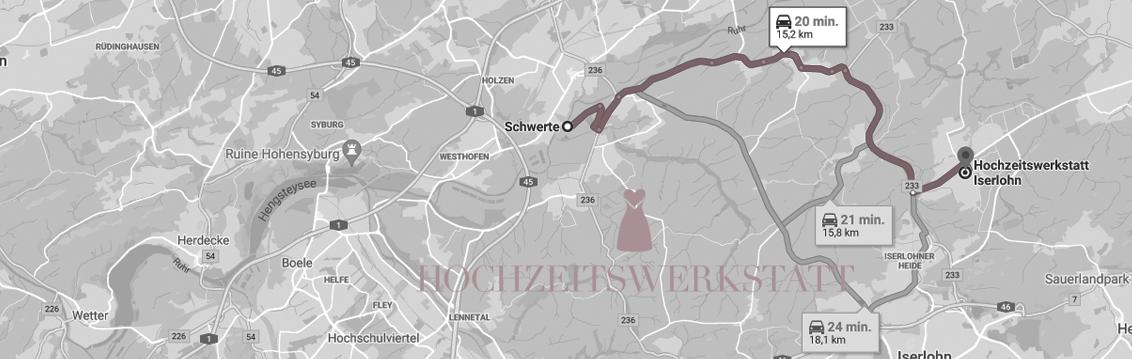 Anfahrt/Map Schwerte - Hochzeitswerkstatt Iserlohn